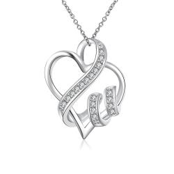 Vienna Jewelry Sterling Silver Curved Heart Shaped Pendant Necklace - Thumbnail 0