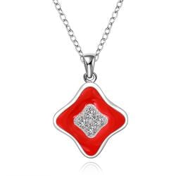 Vienna Jewelry Sterling Silver Ruby Layering Diamond Shaped Drop Necklace - Thumbnail 0