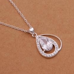 Vienna Jewelry Sterling Silver Duo Crystal Emblem Drop Necklace - Thumbnail 0