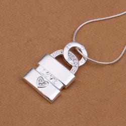 Vienna Jewelry Sterling Silver Trio-Layered Lock Drop Necklace - Thumbnail 0