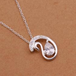 Vienna Jewelry Sterling Silver Swirl Emblem Drop Necklace - Thumbnail 0