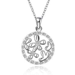 Vienna Jewelry Sterling Silver Clover Filled Pendant Circular Necklace - Thumbnail 0