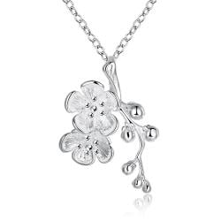 Vienna Jewelry Sterling Silver Clover Orchid Drop Necklace - Thumbnail 0