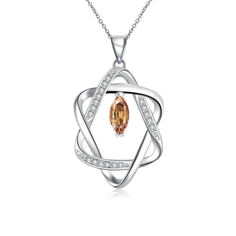 Vienna Jewelry Sterling Silver Orange Citrine Star Design Necklace