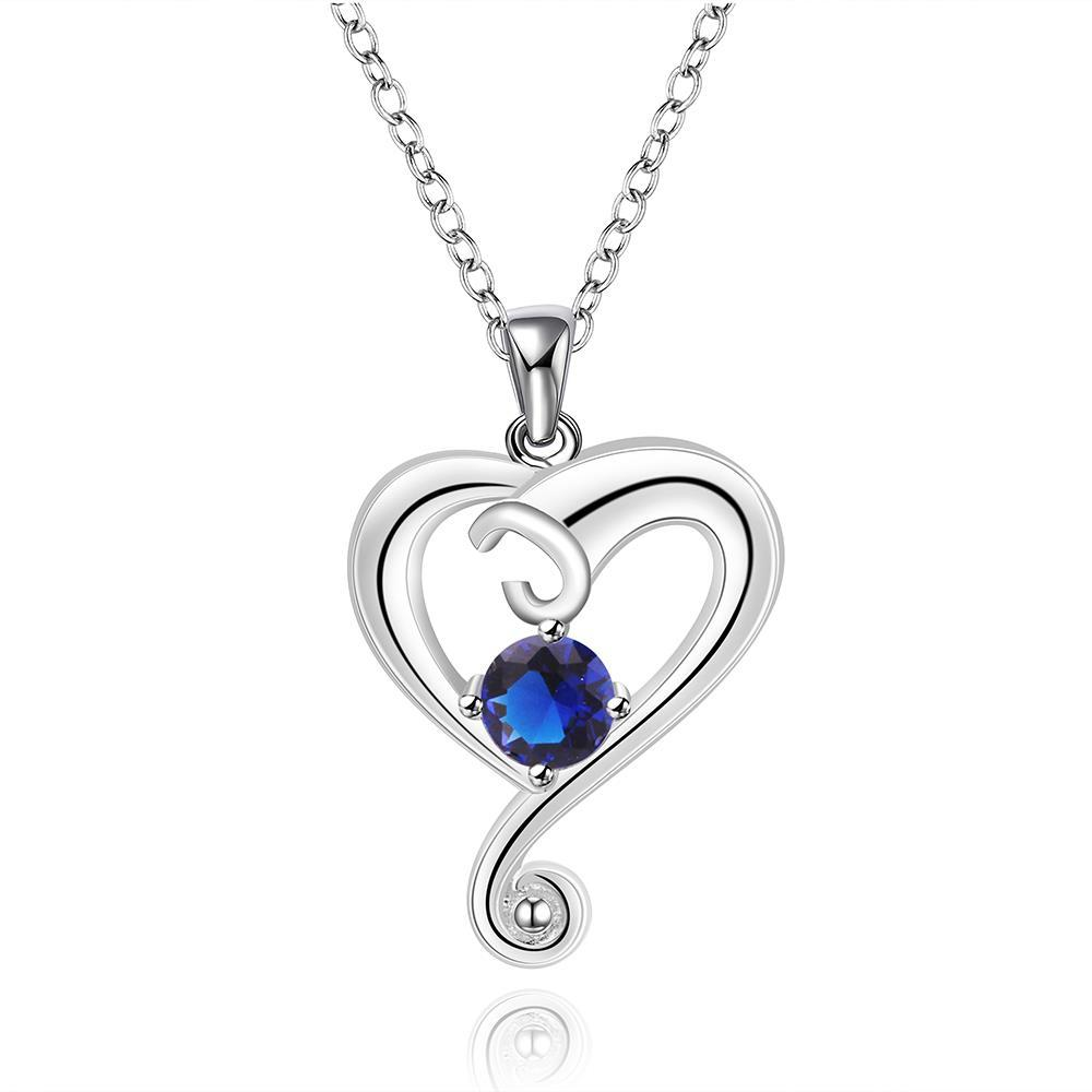 Vienna Jewelry Sterling Silver Mock Sapphire Curved Heart Dangling Drop Necklace