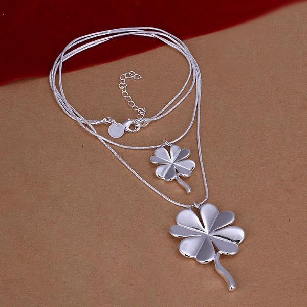 Vienna Jewelry Sivler Tone Duo-Clover Shaped Dangling Necklace