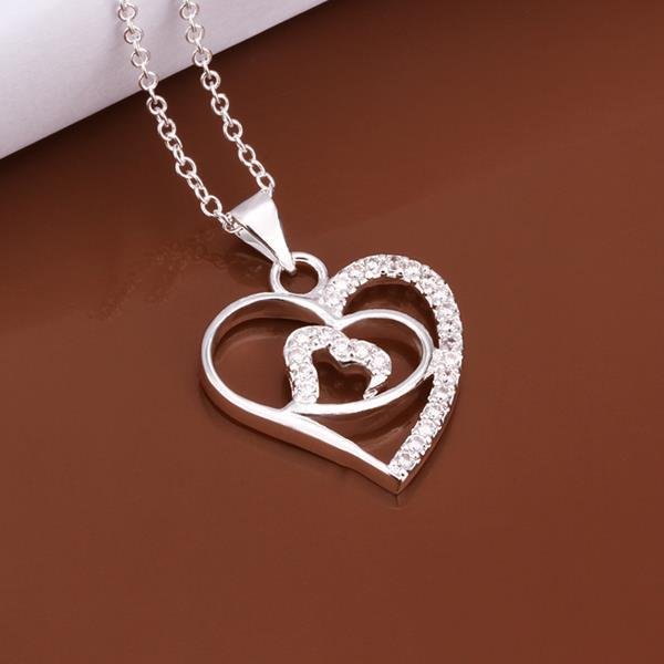 Vienna Jewelry Sterling Silver Laser Cut Heart Pendant Drop Necklace