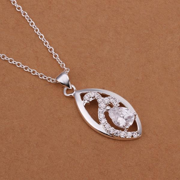 Vienna Jewelry Sterling Silver Modern Sleek Emblem Drop Necklace