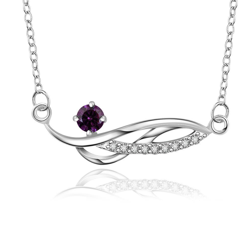 Vienna Jewelry Sterling Silver Curved Purple Citrine Gem Necklace
