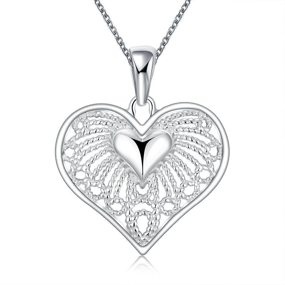 Vienna Jewelry Sterling Silver Laser Cut Heart Pendant Shaped Necklace