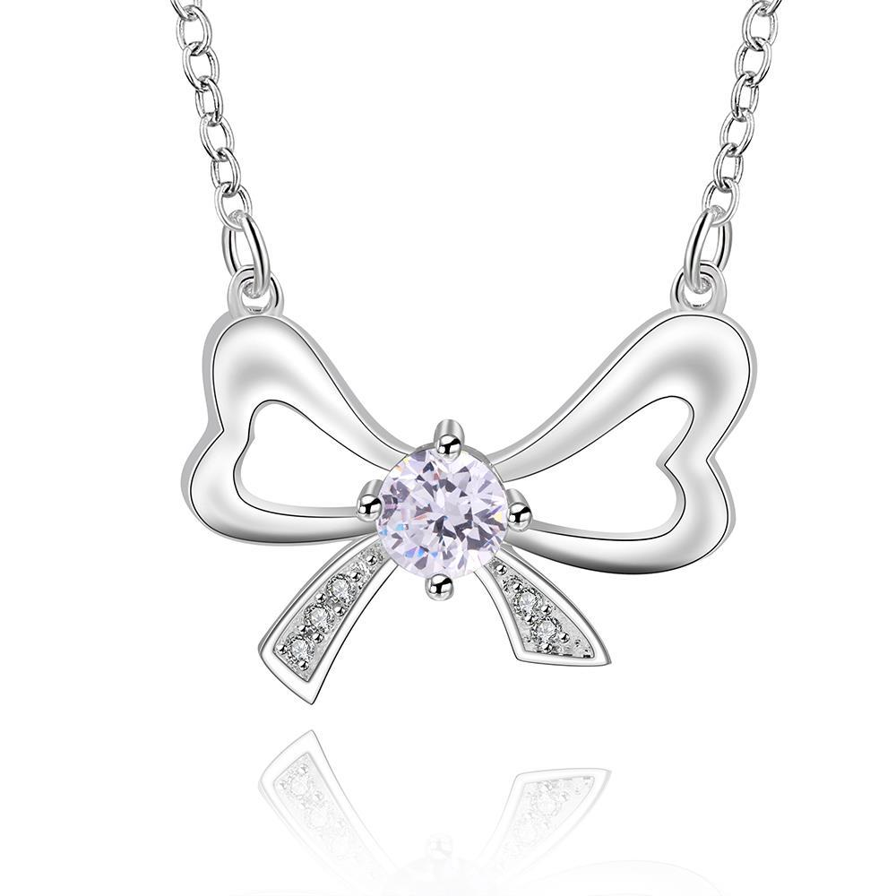 Vienna Jewelry Sterling Silver Crystal Knot Pendant Necklace
