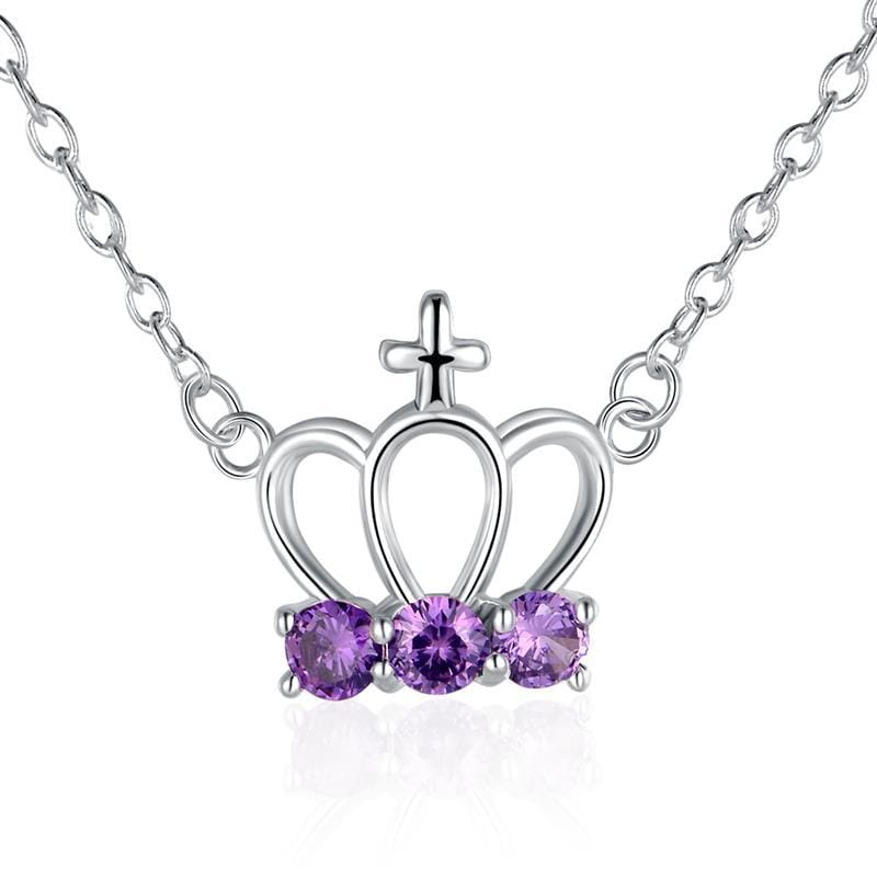 Vienna Jewelry Sterling Silver Purple Citrine Gem Crown Pendant Necklace