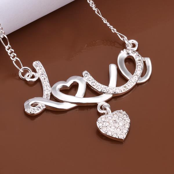 Vienna Jewelry Sterling Silver Love Writing Emblem Drop Necklace