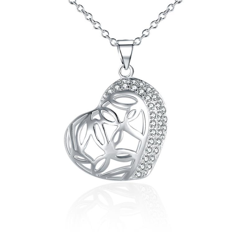Vienna Jewelry Sterling Silver Laser Cut Curved Heart Pendant Necklace