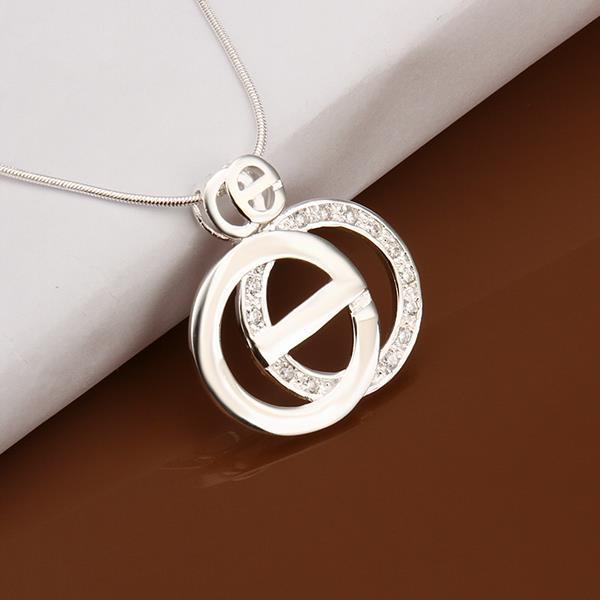 Vienna Jewelry Sterling Silver Duo Circular Emblem Drop Necklace