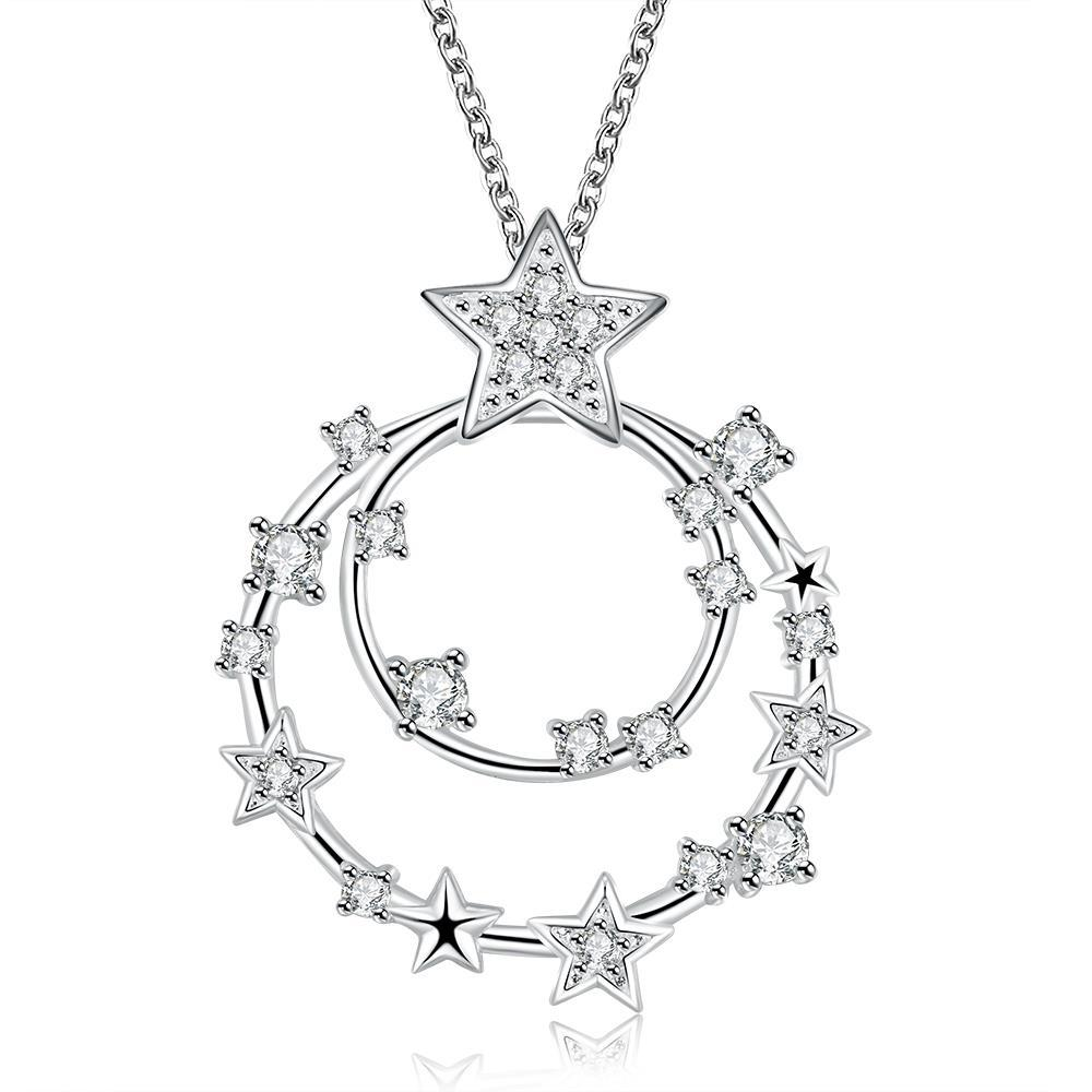 Vienna Jewelry Sterling Silver Crystal Insert Circular Pendant Necklace