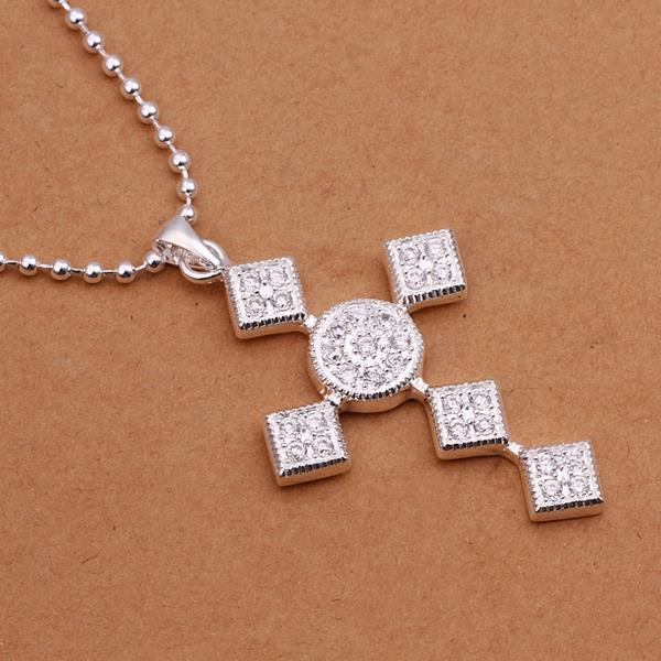Vienna Jewelry Sterling Silver Diamond Shaped Cross Drop Necklace