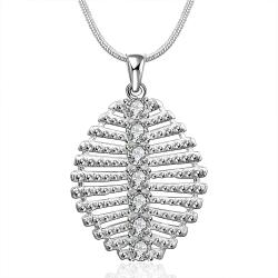 Vienna Jewelry Sterling Silver Laser Cut Leaf Branch Drop Necklace - Thumbnail 0