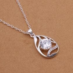 Vienna Jewelry Sterling Silver Laser Cut Swirl Emblem Drop Necklace - Thumbnail 0