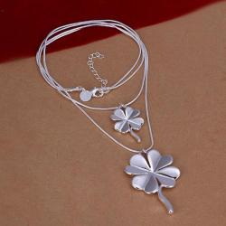 Vienna Jewelry Sivler Tone Duo-Clover Shaped Dangling Necklace - Thumbnail 0
