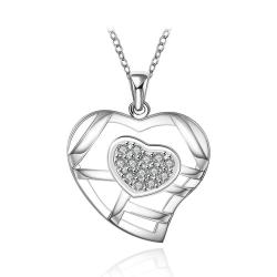 Vienna Jewelry Sterling Silver Laser Cut Heart with Crystal Necklace - Thumbnail 0