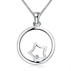 Vienna Jewelry Sterling Silver Circular Star Emblem Necklace - Thumbnail 0