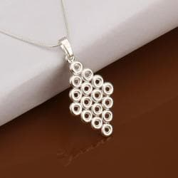 Vienna Jewelry Sterling Silver Multi Circular Diamond Shaped Drop Necklace - Thumbnail 0