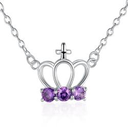 Vienna Jewelry Sterling Silver Purple Citrine Gem Crown Pendant Necklace - Thumbnail 0