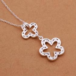 Vienna Jewelry Sterling Silver Duo Hollow Clover Drop Necklace - Thumbnail 0