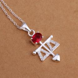 Vienna Jewelry Sterling Silver Ruby Gem Spear Drop Necklace - Thumbnail 0