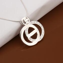 Vienna Jewelry Sterling Silver Duo Circular Emblem Drop Necklace - Thumbnail 0