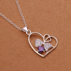 Vienna Jewelry Sterling Silver Purple Citrine Hollow Hearts Emblem Necklace - Thumbnail 0