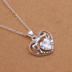 Vienna Jewelry Sterling Silver Hollow Laser Cut Petite Heart Drop Necklace - Thumbnail 0