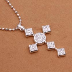 Vienna Jewelry Sterling Silver Diamond Shaped Cross Drop Necklace - Thumbnail 0