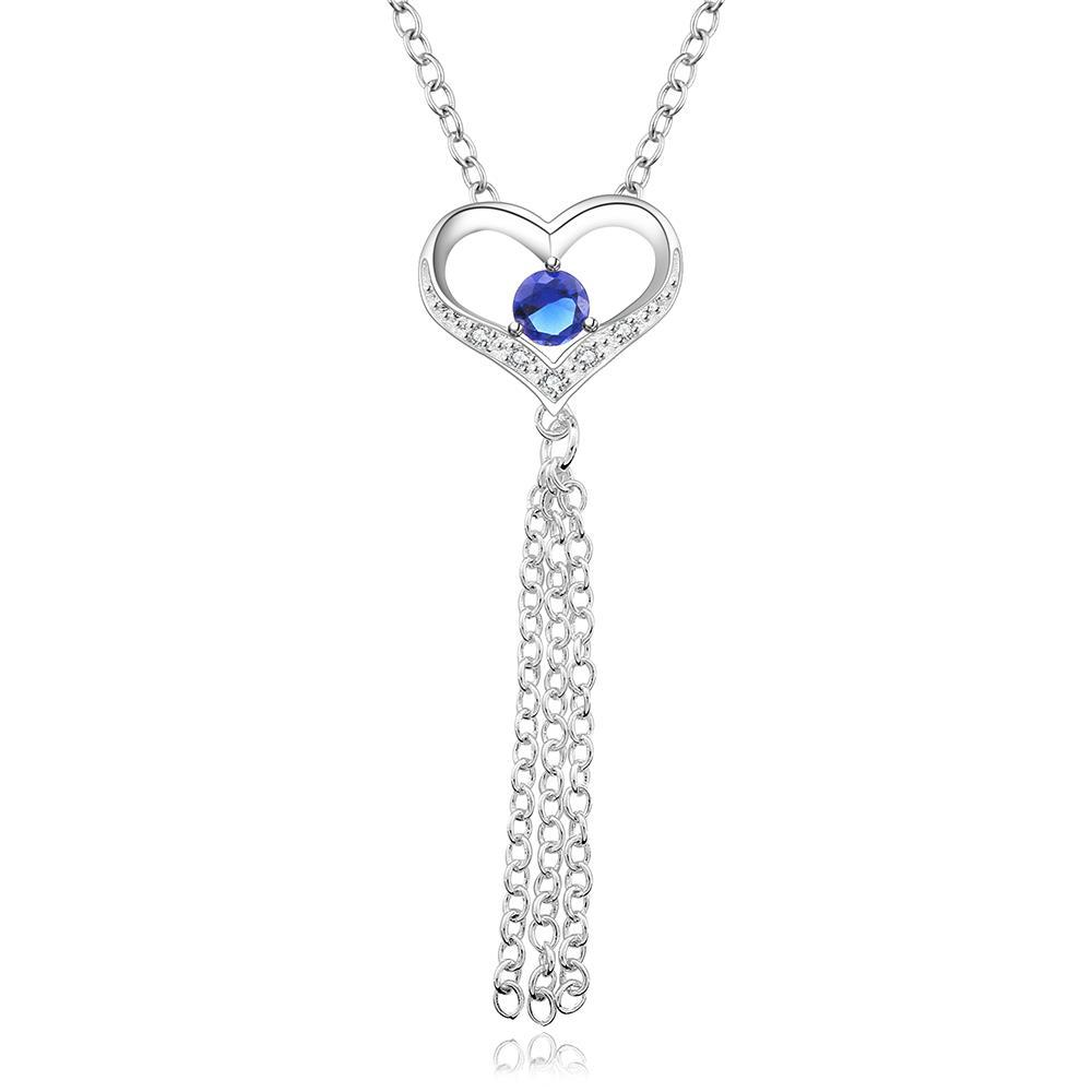 Vienna Jewelry Sterling Silver Petite Classic Mock Sapphire Dangling Heart Necklace