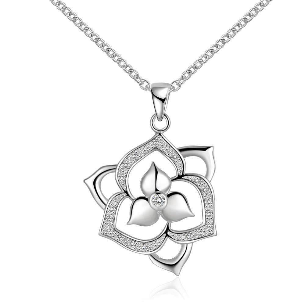 Vienna Jewelry Sterling Silver Duo-Floral Petals Necklace