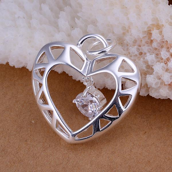 Vienna Jewelry Sterling Silver Laser Cut Heart Pendant