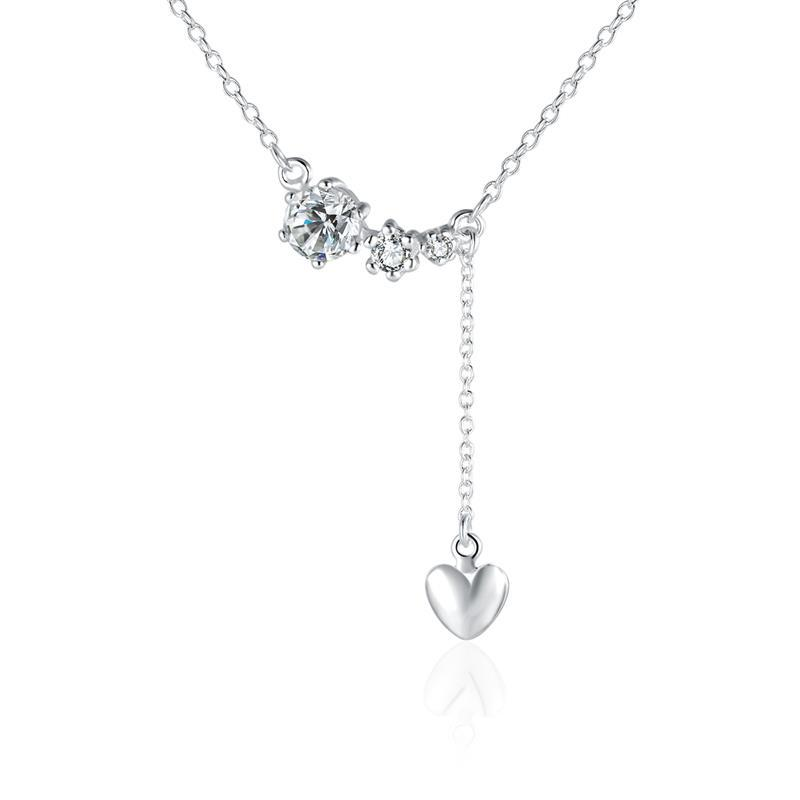 Vienna Jewelry Sterling Silver Dangling Petite Heart Modern Necklace