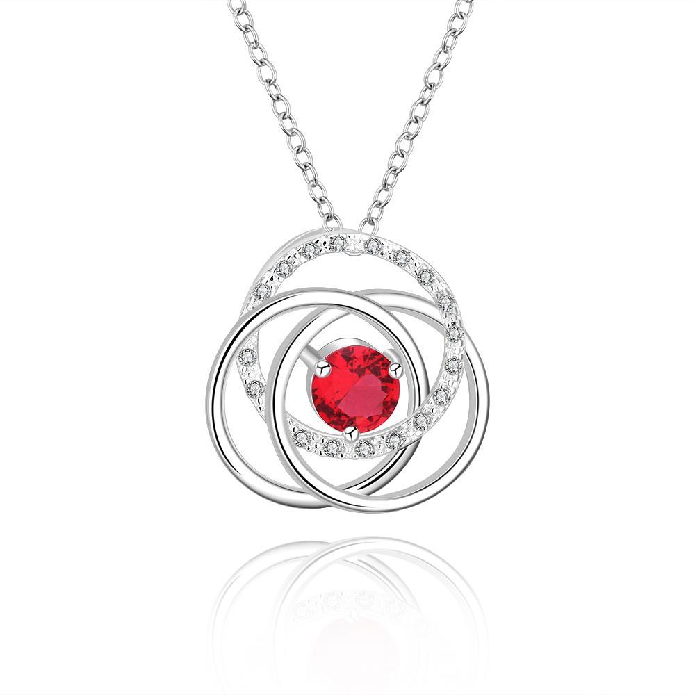 Vienna Jewelry Sterling Silver Multi Curved Ruby Red Pendant Necklace