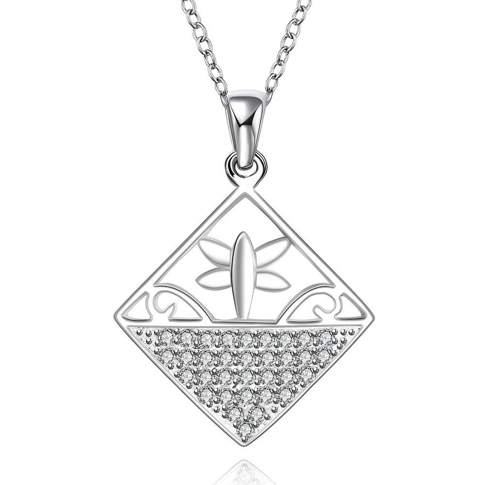 Vienna Jewelry Sterling Silver Diamond Shaped Design Inprint Necklace