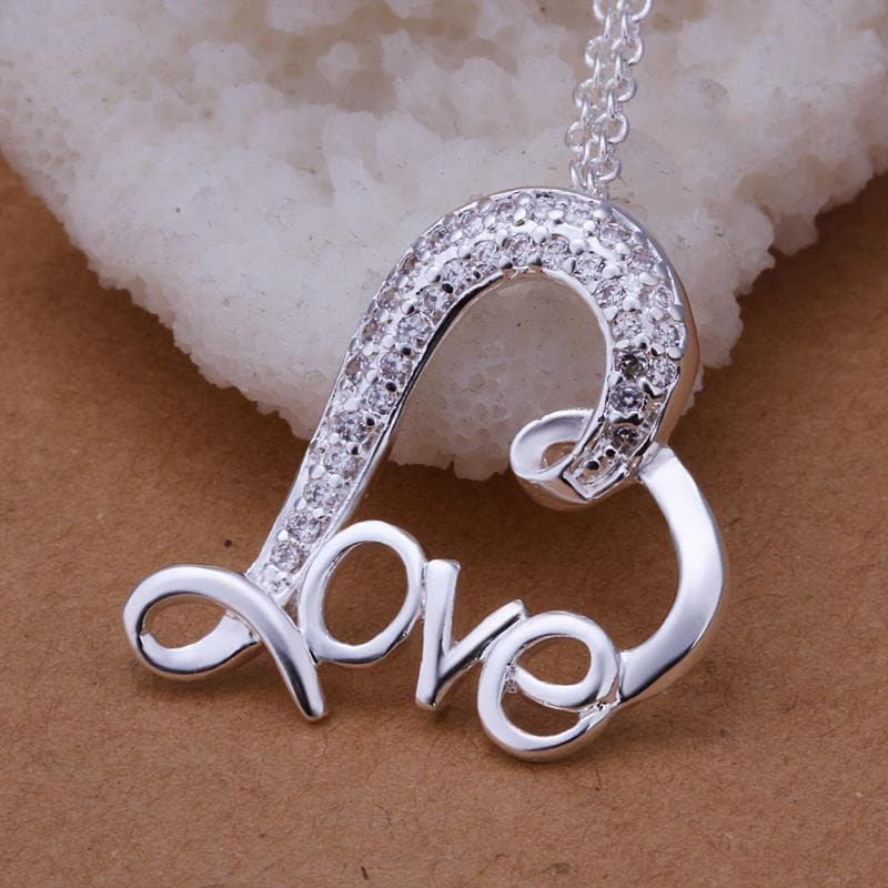 Vienna Jewelry Sterling Silver Curved Loved Pendant
