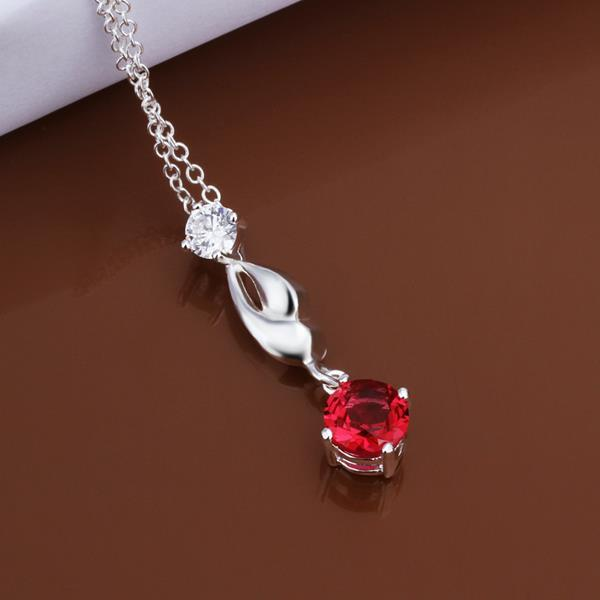 Vienna Jewelry Sterling Silver Petite Ruby Gem Curved Dangling Necklace