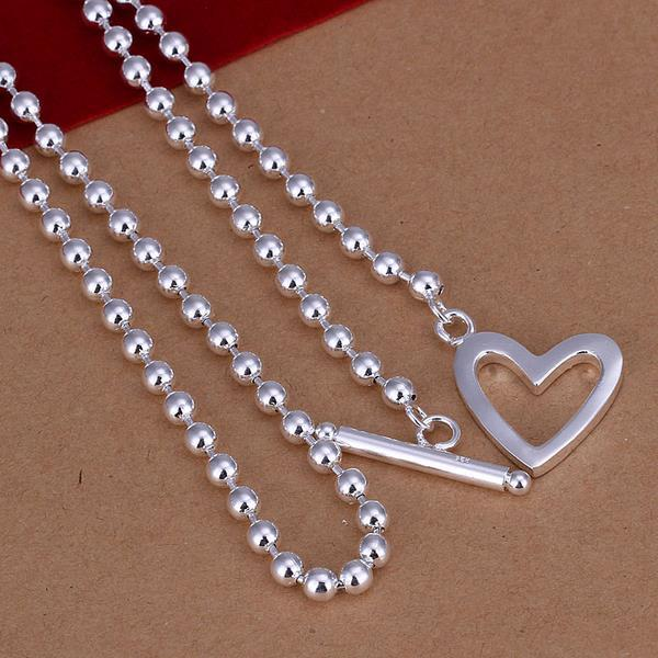 Vienna Jewelry Sterling Silver Bead Necklace Heart Closure Necklace