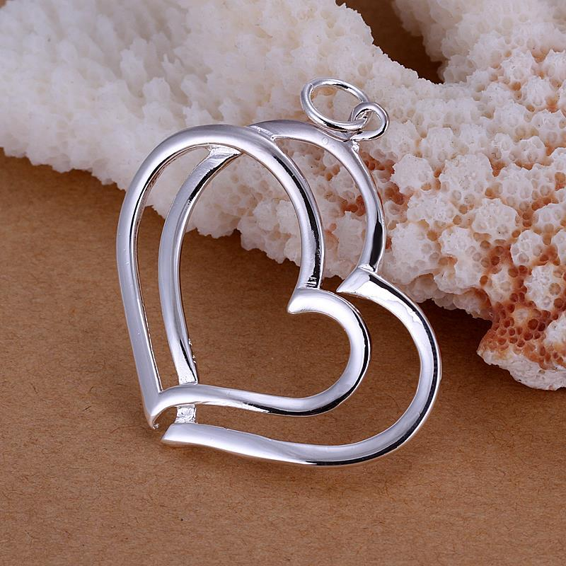Vienna Jewelry Sterling Silver Duo-Hollow Hearts Pendant