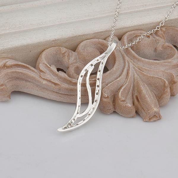 Vienna Jewelry Sterling Silver Curved Long Emblem Drop Necklace