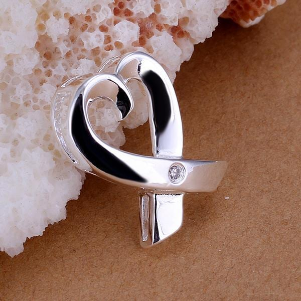 Vienna Jewelry Sterling Silver Curved Heart Pendant