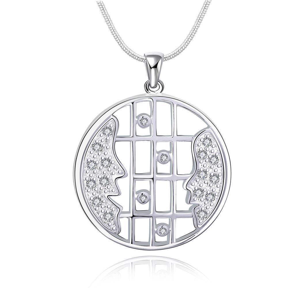 Vienna Jewelry Sivler Tone Horizontal Laser Cut Emblem Drop Necklace