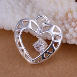 Vienna Jewelry Sterling Silver Laser Cut Heart Pendant - Thumbnail 0