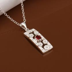 Vienna Jewelry Sterling Silver Ruby Gem Vertical Rectangle Drop Necklace - Thumbnail 0