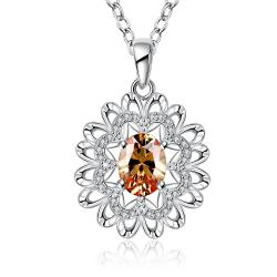 Vienna Jewelry Sterling Silver Orange Citrine Snowflake Pendant Necklace - Thumbnail 0